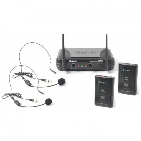 Zestaw z dwoma nagłownymi mikrofonami VHF